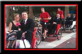 Pedicabs at weddings can help the guest from the wedding ceremony to the reception.