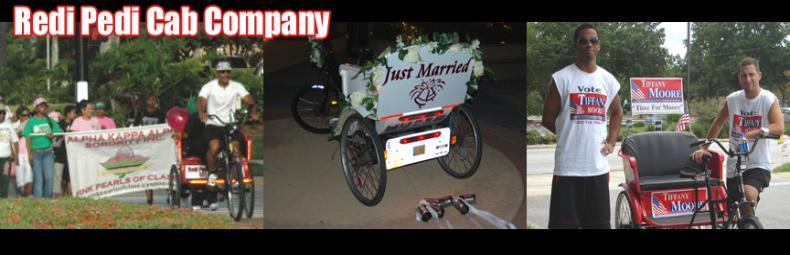 Redi Pedi pedicabs are used at weddings, political campaigns, fundraisers, and many other events.